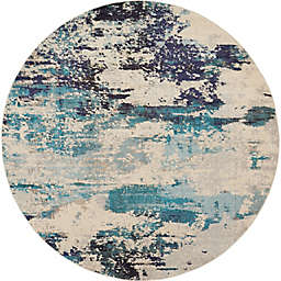 Nourison Celestial Abstract 7'10 Round Area Rug in Ivory/Teal