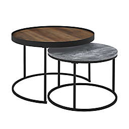 Forest Gate Farmhouse 2-Piece Round Nesting Coffee Tables