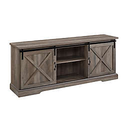 Forest Gate™ 70-Inch Barn Door TV Stand with 3 Adjustable Shelves in Grey Wash