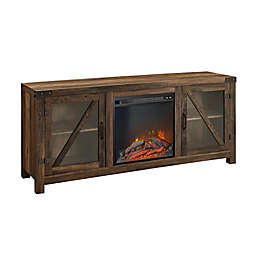Forest Gate™ 58-Inch Glass Door Electric Fireplace Console in Rustic Oak
