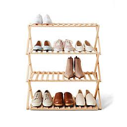 Simply Essential™ 4-Tier Wood Shoe Rack in Brown