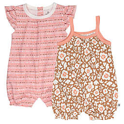The Honest Company® 2-Piece Mushroom Floral Organic Cotton Romper Set in Brown/Ivory