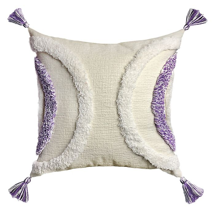 Alternate image 1 for Wild Sage™ Half Moon Chenille Tufting Square Throw Pillow in Wisteria