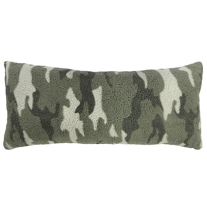 Alternate image 1 for Simply Essential™ Camo Sherpa Oblong Throw Pillow in Green