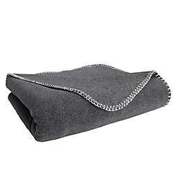 Simply Essential™ Felt Stitch Fleece Throw Blanket in Grey
