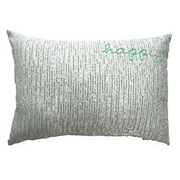 "Wild Sage™ ""Happy"" Oblong Throw Pillow in Blue"