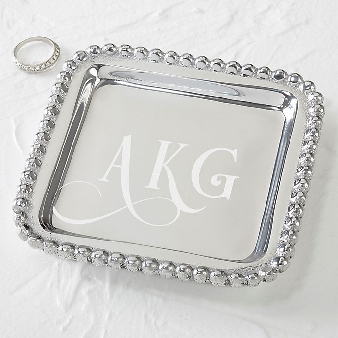 Alternate image 1 for Mariposa® String of Pearls Monogram Jewelry Tray