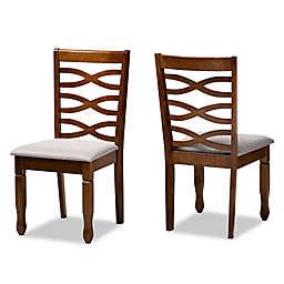 Baxton Studio Fabiola Dining Side Chairs in Walnut/Grey (Set of 2)