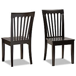 Baxton Studio Salome Dining Chairs in Dark Brown (Set of 2)