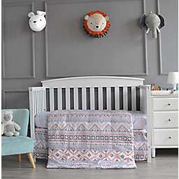 Nipperland® Fun & Bright Aztec 3-Piece Crib Bedding Set in Grey/Coral