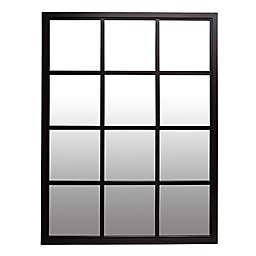 Patton Wall Decor 24.5-Inch x 30.5-Inch Rectangular Windowpane Wall Mirror in Black