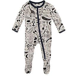KicKee Pants® Size 0-3M Doodles Footie Pajama in Ivory/Black