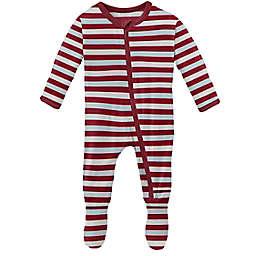 KicKee Pants® Size 3-6M Playground Stripe Footie Pajama in Red