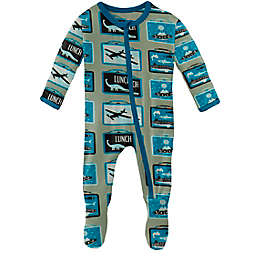 KicKee Pants® Size 3-6M Lunch Boxes Footie Pajama in Silver Sage
