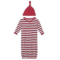 KicKee Pants® Newborn 2-Piece Playground Stripe Gown Converter and Hat Set in Red