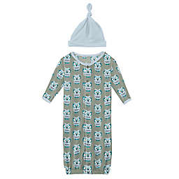 KicKee Pants® Size 0-3M 2-Piece Wise Owls Gown Converter and Hat Set in Silver Sage