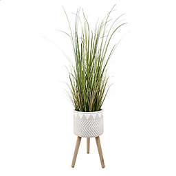 Flora Bunda® 59-Inch Artificial Onion Grass Plant with Fiberglass Stand in Grey
