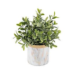 Flora Bunda® 7.5-Inch Artificial Tea Leaf Plant with Marble Ceramic Pot in White/Gold
