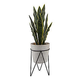 Flora Bunda 21-Inch Artificial Snake Plant in Cement Pot on Metal Stand