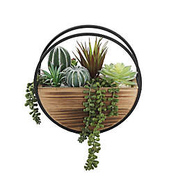 Floral Bunda 9.5-Inch Artificial Succulent Arrangement in Round Wood and Metal Pot