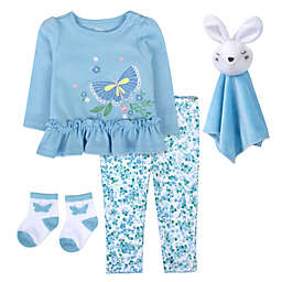 Baby Essentials Size 3-6M 4-Piece Butterfly Bunny Snuggler Set in Blue