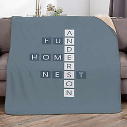 Family Crossword 60-Inch x 80-Inch Personalized Sherpa Blanket