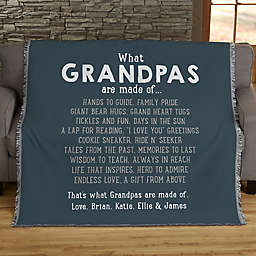 What Grandpas Are Made Of Personalized 56-Inch x 60-Inch Woven Throw