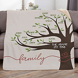 Our Family Tree Personalized Sherpa Blanket