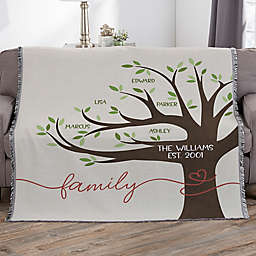 Our Family Tree Personalized 56-Inch x 60-Inch Woven Throw