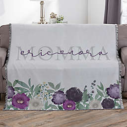 Floral Love For Mom Personalized 56-Inch x 60-Inch Woven Throw