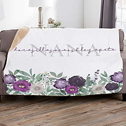 Floral Love For Grandma Personalized Sherpa Blanket