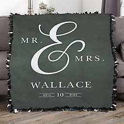 Moody Chic Personalized Wedding Tie Blanket
