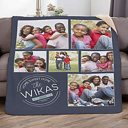 Stamped Family 60-Inch x 80-Inch Personalized Sherpa Photo Blanket
