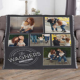 Stamped Family Personalized 56-Inch x 60-Inch Woven Photo Throw