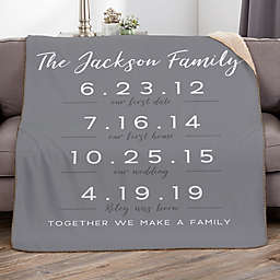 Memorable Dates 50-Inch x 60-Inch Personalized Sherpa Blanket