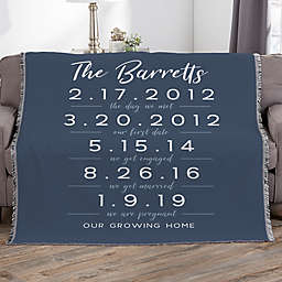 Memorable Dates Personalized 56-Inch x 60-Inch Woven Throw