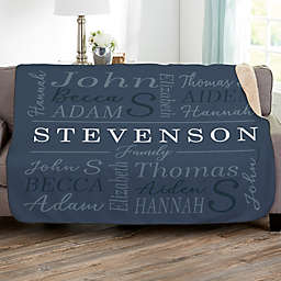 Family Is Everything 60-Inch x 80-Inch Personalized Sherpa Blanket