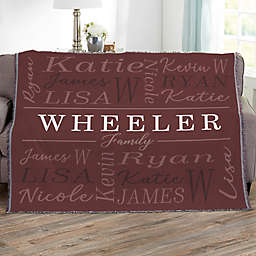 Family Is Everything Personalized 56-Inch x 60-Inch Woven Throw