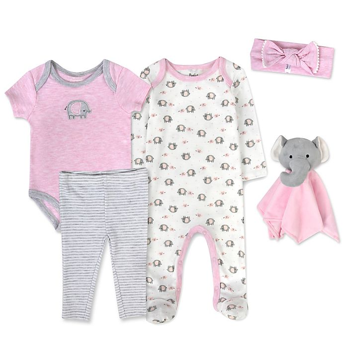 Alternate image 1 for Baby Essentials 5-Piece Elephant Snuggle Set in Pink/Grey