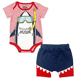 Kapital K™ Size 3-6M Jawsome 2-Piece Bodysuit and Short Set