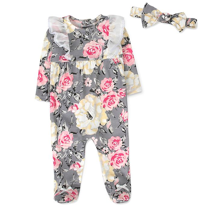 Alternate image 1 for Baby Essentials Size 6-9M 2-Piece Romantic Floral Footie & Headband Set in Grey/Pink