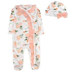 Baby Essentials 2-Piece Floral Footie & Cap Set in White/Pink