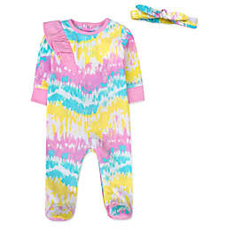 Baby Essentials 2-Piece Multicolor Tie-Die Footie & Headband Set