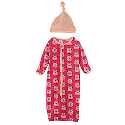 KicKee Pants® 2-Piece Taffy Wise Owls Gown Converter and Hat Set in Pink