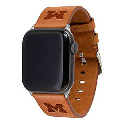University of Michigan Apple Watch® 42/44MM Long Leather Band in Tan