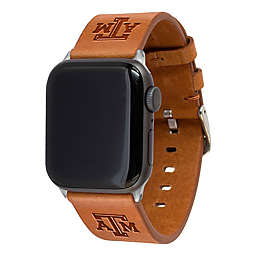 Texas A&M University Apple Watch® 42/44MM Short Leather Band in Tan