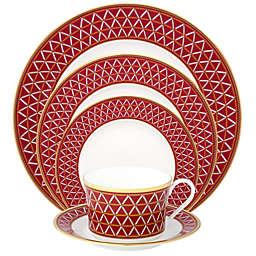 Noritake® Crochet 12-Piece Dinnerware Set in White/Red