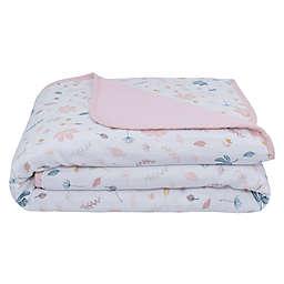 Living Textiles Botanical Organic Cotton Muslin Stroller Blanket in Pink