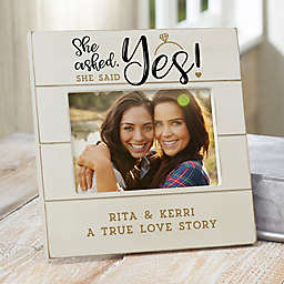 """""""She Asked, She Said Yes"""" Personalized Engagement Shiplap Picture Frame"""