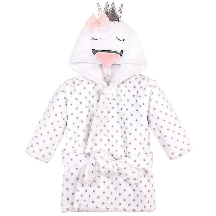 Alternate image 1 for Hudson Baby® Size 0-9M Plush Swan Bathrobe in White